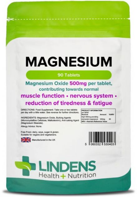 Magnesium (MgO 500mg) x 90/500 Tabs; Muscle Function, Fatigue; Lindens